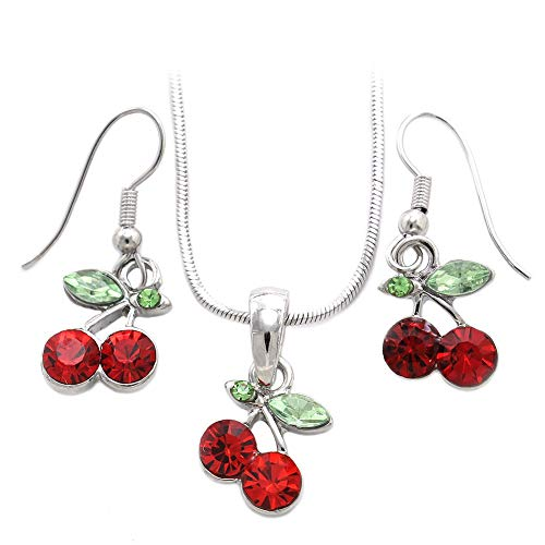 Soulbreezecollection Cherry Necklace Fruit Pendant Charm Dangle Drop Earrings Red Green Rhinestone Fashion Jewelry Set