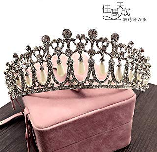 Quantity 1x Only bride Crown Tiara Party Wedding Headband Women Bridal Princess Birthday Girl Gift Princess _Diana_ Rhinestone pearl Wedding jewelry Hair Ornaments Wedding _female_ pearl _tears.