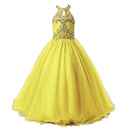 Henglizh Halter Beading Flower Girl Dress Ball Gown Kids Pageant Communion Gowns Yellow,Size (Halloween Glitz Pageant Dresses)