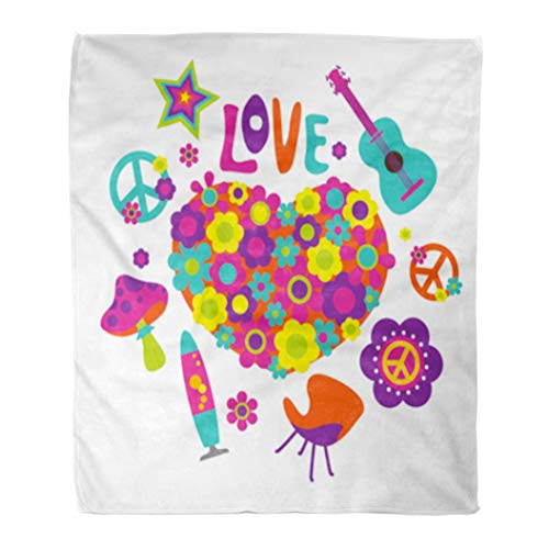 Golee Throw Blanket Peace Composition Floral Heart and Sign 1960S Acoustic Burst Chair 60x80 Inches Warm Fuzzy Soft Blanket for Bed Sofa ()