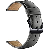 LEUNGLIK 20mm Watch Band Quick Release Leather Watch Bands with Black Stainless Pins Clasp - Gray
