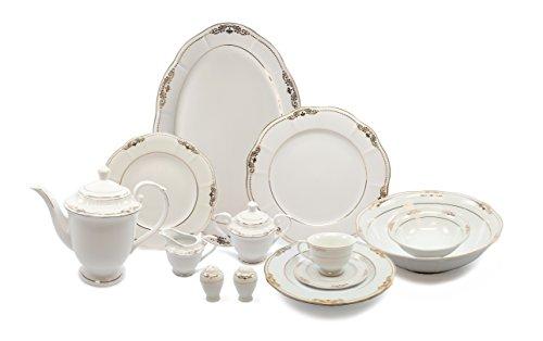 Royalty Porcelain 57-pc Banquet Dinnerware Set for 8, Bone China (Loren) (Set Cabinet China)