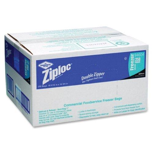 Wholesale CASE of 5 - Diversey Ziploc 1 Gallon Freezer Bags-1 Gallon Freezer Bag, 2.7 mil, 10-9/16''x10-3/4'',250/BX,CL