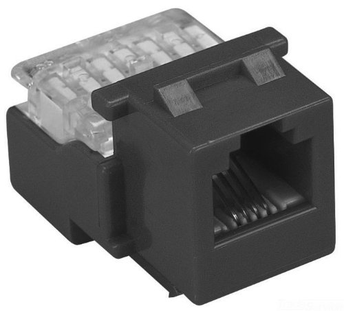 Allen Tel AT28-00 Category 3 Compact Jack Module, Black, 1 Port, EIA/TIA 568A/B Wiring, 110 Termination, 8 Conductor