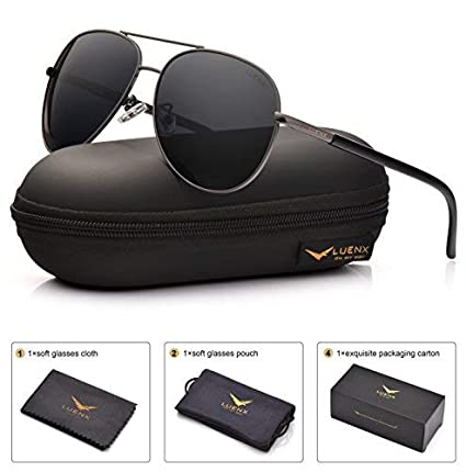 c313d8f0ab Image Unavailable. Image not available for. Color  LUENX Men Women Aviator  Sunglasses Grey Polarized Lens Metal Frame - UV 400 with Accessories 60MM