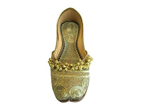 Ballet n Ghungroo Women's Flat Punjabi Gold Style Khussa Ethnic Step Shoes Jutti Gold Mojari 7wBgAqq