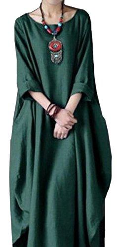 Les Robes Caftan De Femmes Alion Lâche Coton Lin Ajustement Taille Plus Robe Maxi À Manches Longues 1