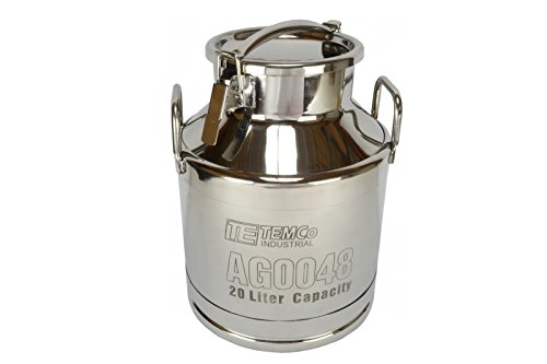 TEMCo 20 Liter 5.25 Gallon Stainless Steel Milk Can Wine Pail Bucket Tote Jug (Steel Stainless Tote)