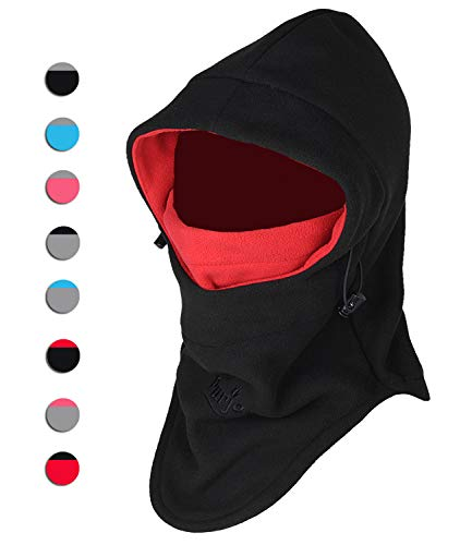 Purjoy Multipurpose Use 6 in 1 Thermal Warm Fleece Balaclava Hood Police Swat Ski Bike Wind Stopper Full Face Mask Hats Neck Warmer Outdoor Winter Sports Snowboarding Cap(Black+red)