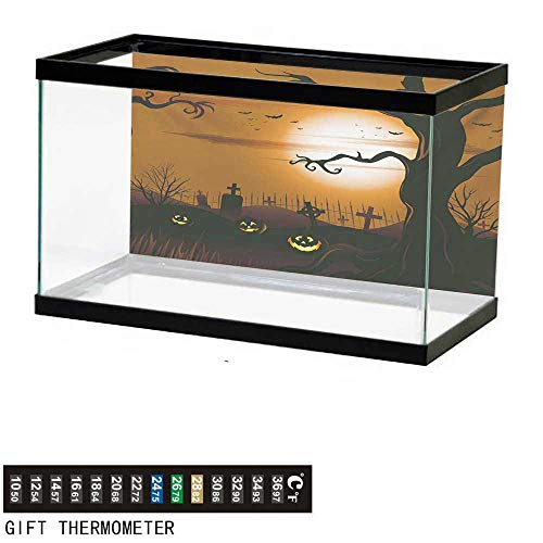 (wwwhsl Aquarium Background,Halloween,Leafless Creepy Tree with Twiggy Branches at Night in Cemetery Graphic Drawing,Brown Tan Fish Tank Backdrop 30
