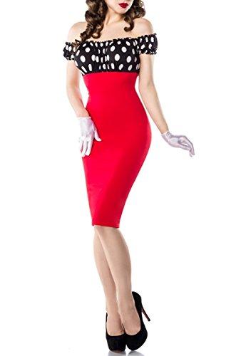 Weiß Pencilkleid Schwarz Vintage im Rot Style Carmen 6Zx6UnqvYd