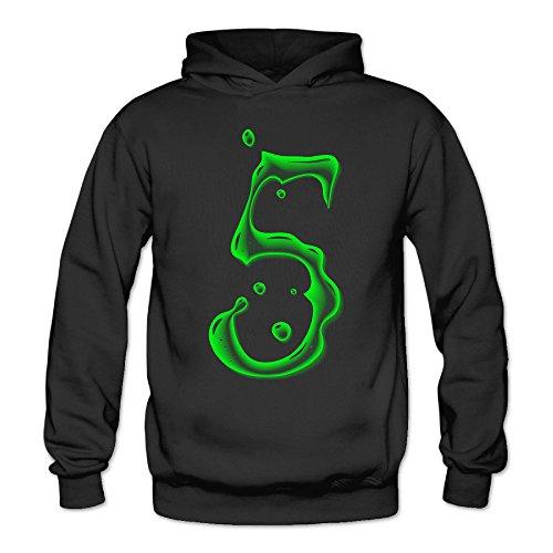 Bro-Custom Green Lucky Number 5 Hooded For Women's Size M Black