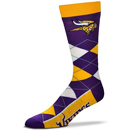 Nfl Mens Minnesota Vikings Argyle Socks With Vikings At Bottom
