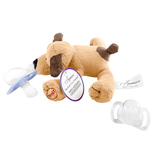 Anamazees, The First 5-in-1 Pacifier, Paddy the Puppy, 9 Inches/Brown, (Baby Rattle, Sings ABC's, Squeak Toy, Plush Animal Detachable Paci Holder), Gift Set