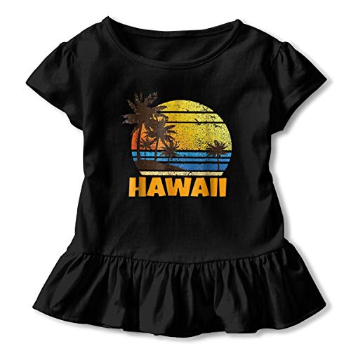 Hawaiian The Aloha State Toddler Baby Girls T Shirt Cotton Ruffle Short Sleeve Solid Infant Tee ()
