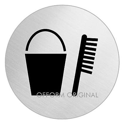 OFFORM Señal pictograma en acero inox Ø 75mm No.8512 'Producto de limpieza'