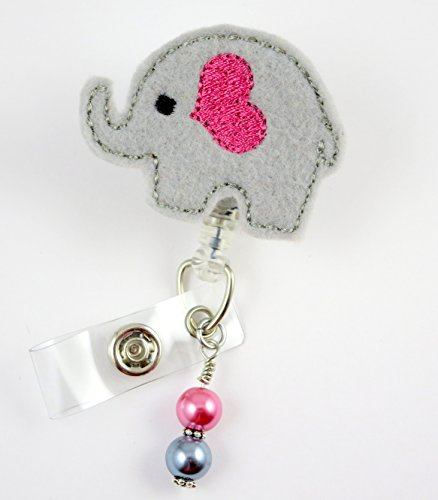 Cute Elephant with Trunk - Nurse Badge Reel - Retractable ID Badge Holder - Nurse Badge - Badge Clip - Badge Reels - Pediatric - RN - Name Badge Holder