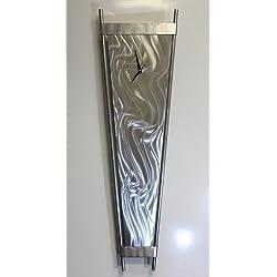 Large Modern Silver 48 Wall Clock - Futuristic 3D Metal Wall Art Sculpture - Force Field Clock By Jon Allen