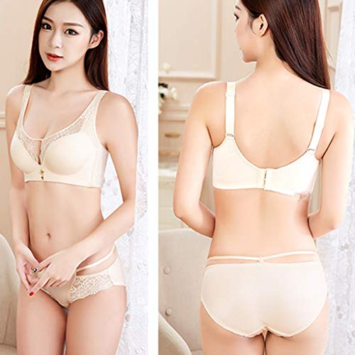 (Coedfa✿Underwear for Woman Fashion Hollow-Out Lace Bra Seamless Collection Adjusted Underwear with Accessory Nightwear Beige)