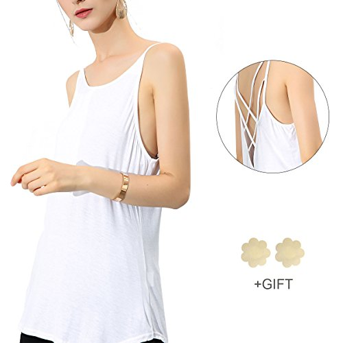 Cotton Camisole for Women Backless Strap Tank Tops Criss Cross Causal Camisole Black White Tank Tops