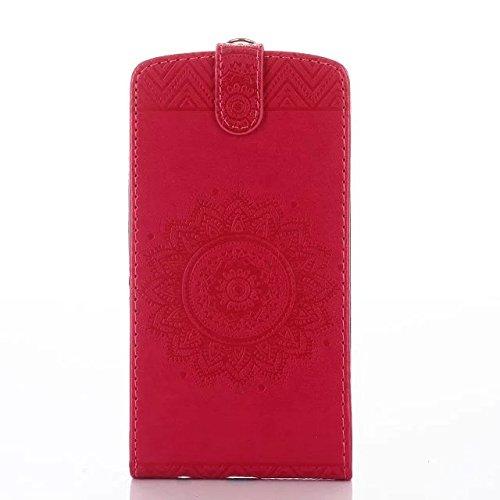 SRY-case Funda LG G3, Vertical Flip Funda Funda de cuero en relieve Patrón Funda de piel con ranuras para tarjetas Wallet G3 ( Color : Rose , Size : LG G3 ) Red