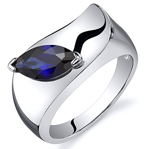 Created Sapphire Ring Sterling Silver Rhodium Nickel Finish Marquise Shape 1.25 Carats Size 7