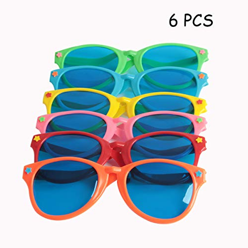 SBYURE 6 Pieces Jumbo Sunglasses Plastic Glasses for Costumes Cosplay Halloween Party, Fun Party Favor, Photo Booth Props,Bulk Pool Party Favors, Goody Bag Fillers,10 * 4 inch]()