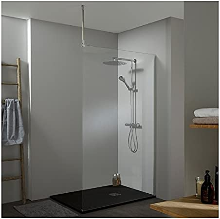 Mampara de ducha Walk In fijo 120 x 200 cm, con fijación techo: Amazon.es: Hogar