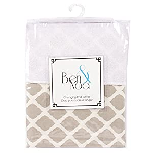 Kushies Baby Ben & Noa Change Pad with Terry Insert Percale Sheet, Linen Lattice