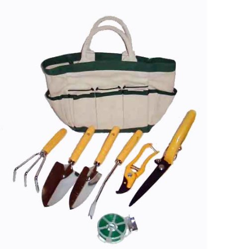 Master craft eight piece garden tool and tote set lawn for Gardening tools required