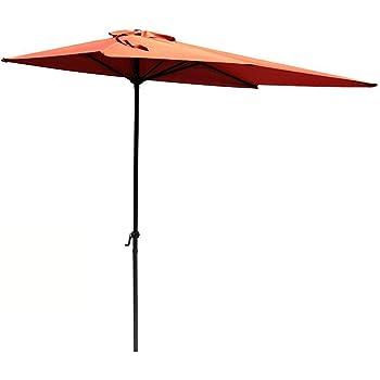 COBANA Half 7.5u0027by 4u0027 Rectangular Outdoor Umbrella For Patio,Balcony,Garden,Deck,  Brick Red