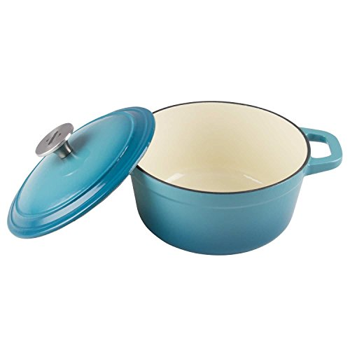 Zelancio Cookware 3-Quart Enameled Cast Iron Dutch Oven Cooking Dish with Lid, Teal - Enamel Coated Cast