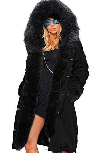 Autunno Autunno Autunno Cappucio Primavera Donna per per per StyleDome Con Nero Inverno Elegante Casuale Cotone Cappotto Collo Nero 0FqFwanTXI