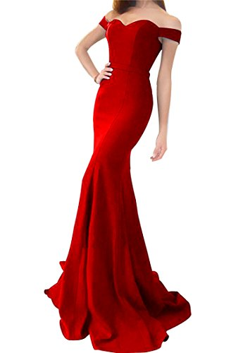 LiCheng Bridal Off the Shoulder Mermaid Wedding Dresses Sweetheart Floor Length Evening Party Gowns Corset Prom Dresses Red US10 - Red Corset Dress