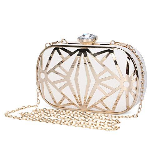 Clocolor Women Evening Bags Exquisite Leather Handbag Metal Hollow Designer Wedding Party Clutch Purse ()