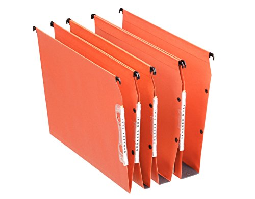 - Esselte Dual Lateral Suspension Files, A4, V-Base, Pack of 25 Connectable Files, Tabs Included, Orange, Orgarex Range, 21627