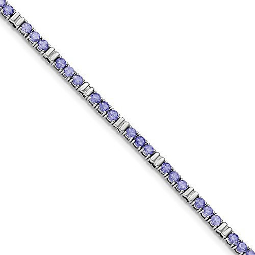 Solid .925 Sterling Silver Rhodium-plated & Iolite Bracelet 7.25 inches