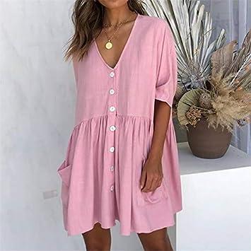 TSEINCE Vestido de botón Informal Suelto Plisado Bolsillos de Verano Cuello en V Cómodo Negro Rosa Caqui Mini Vestidos de Mujer Streetwear Robe Women