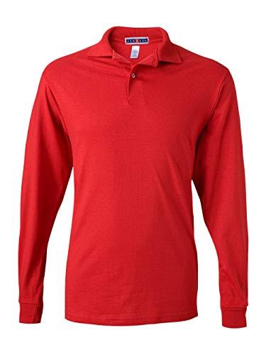 Jerzees Men's Spot Shield Long Sleeve Polo Sport Shirt, True red, Small