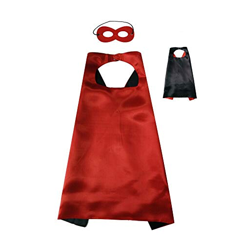 Reversible Kids Superhero Cape with Felt Mask Set for Boys Girls Dress up Costumes Halloween Birthday Party Favors, Red and Black