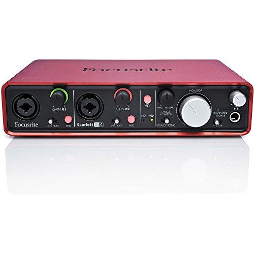 [해외]Focusrite Scarlett 2i4 2 in 4 out USB 오디오 인터페이스, EM-1A Pro 콘덴서 마이크, 쇼크 마운트 & amp; /Focusrite Scarlett 2i4 2 in   4 out USB Audio Interface, EM-1A Pro Condenser Mic, Shock mount & Cable Bundle with 1 Year ...