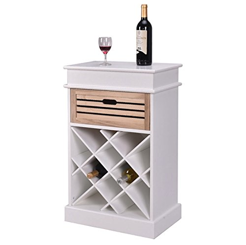 White 12 Bottles Wine Rack Cabinet With Storage Display Shelf Solid Wood Construction Free Standing Vertical Design Home Kitchen Bar Space Saving Furniture Decoration Décor Space Efficient Storage