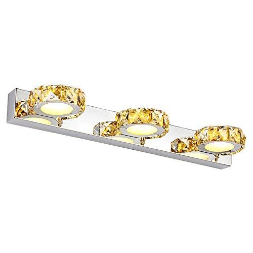 LIUXIN Ledクリスタルステンレススチールトイレミラーフロントライトバスルームウォールランプ、シンプルなクリエイティブウォームホワイトライト3ヘッド46センチメートルウォールランプ防水アンチ霧防止錆びるミラー照明ベッドルームリビングルームメイクアップライトミラーライトランプとランタン ミラーヘッドライト (Color : Champagne)  Champagne B07SPCN4GH