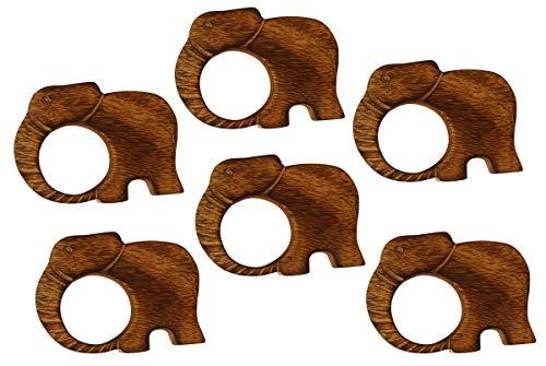 Crafkart Mother's Day Sale on Elephant Napkin Rings Set of 6 Napkin Rings - Dinner Table Decor - Wooden Handmade Set of 6 Napkin Rings - Unique Unusual Dinner Table Decor