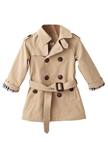 Mallimoda Girls Boys British Cotton Blend Trench Coat Jacket Double Breasted Light Khaki Warm Quilted Lined 5-6 Years