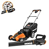 WORX WG959 17-inch 40V (4.0Ah) WG744 Cordless Lawn Mower and WG547.9 Power Share Cordless Turbine Blower
