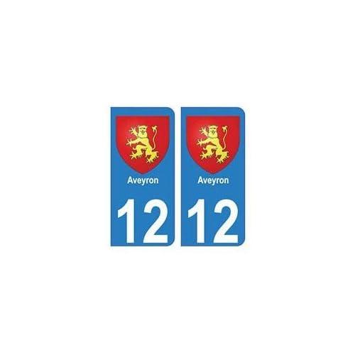 12 Aveyron autocollant plaque blason armoiries stickers département - droits 50%OFF