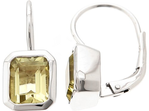 CleverEve Designer Series Sterling Silver Emerald Cut Genuine Lemon Quartz Earrings 8 x 6mm