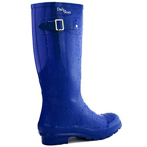 DailyShoes Damen Mittelkalb Kniestrumpf Hunter Regen Round Toe Rainboots Blau