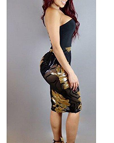 Damen Geometrische Pailletten Kurzen Tube Top Kleid Slim Ballkleider ...